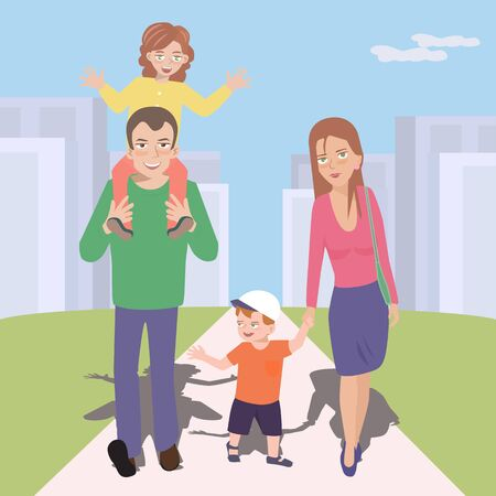 going out: colorful cartoon of family going out together to walk