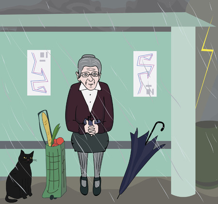 rain cartoon: humorous cartoon image of old woman waiting at bus stop
