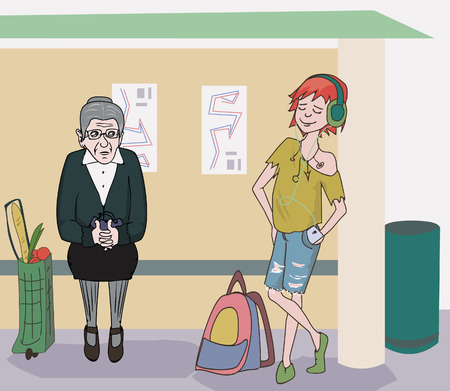 bus station: humorous cartoon image of teenager girl and old woman at bus stop