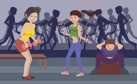 women working out: women working out at gym -  funny vector illustration Illustration