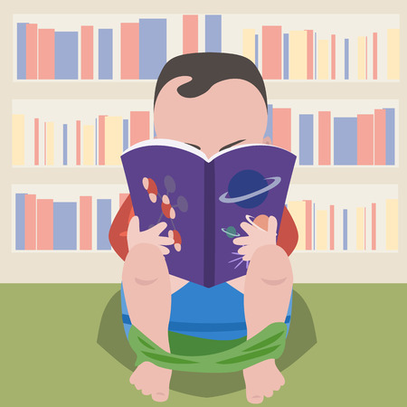 prodigy: baby boy sitting on pot with scientific book - funny cartoon illustration