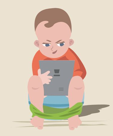baby boy sitting on chamber pot with tablet - funny cartoon illustration Illustration
