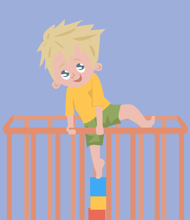 playpen: baby boy trying to climb out of playpen - funny cartoon illustraition