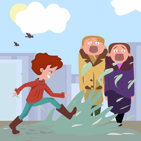 terrible passersby kicking water - funny cartoon illustration