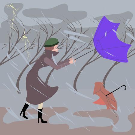 폭풍우 날씨 - 재미 만화 그림에서 도보로 여자