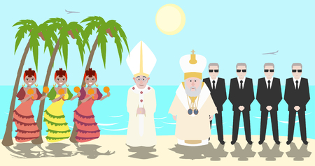 parley: Pope and Patriarch of Moscow meeting at Cuba - funny cartoon illustration