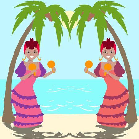 carribean: Latina girls dancing with maracas at seashore - colorful cartoon illustration