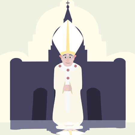 pope: Pope of Rome against temple background  cartoon - funny vector illustration