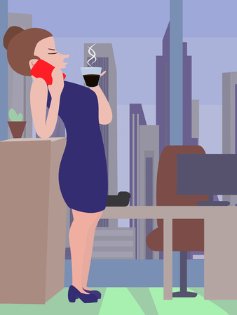 woman smartphone: woman drinking coffee and talking with smartphone - funny cartoon