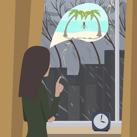 dreaming girl: girl dreaming about summer vacation, while looking at rain through window - cartoon illustration