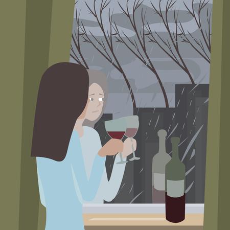 season depression cartoon illustration with woman looking at rain through window