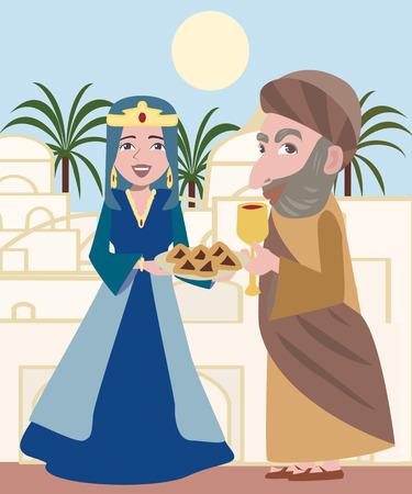 プリムの cartton イラスト文字 - 女王エスターとモルデハイ