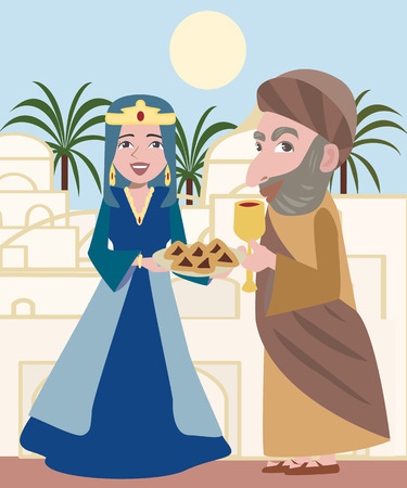 purim: cartton illustration of purim characters -Queen Esther and Mordechai