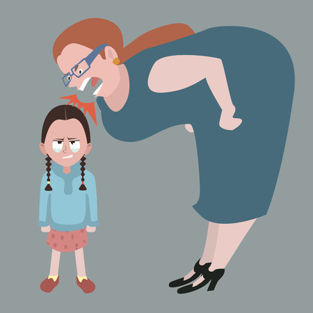 litle girl holding back tears while woman yelling at her - funy cartoon illustration