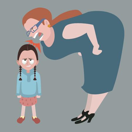 litle Mädchen Tränen zurückhalten, während Frau an ihrem Schreien - funy Karikatur Illustration