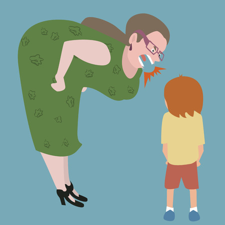 impatience: woman yelling at kid - funny cartoon image of bad education Illustration