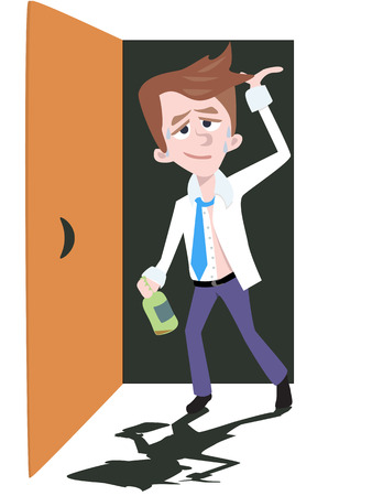 soak: drunken man returns home - comic cartoon illustration Illustration