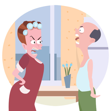 contradiction: family conflict cartoon  - comic illustration of wife and husband quarreling at home Illustration
