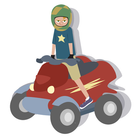 quad: cartoon boy riding quad - colorful illustration
