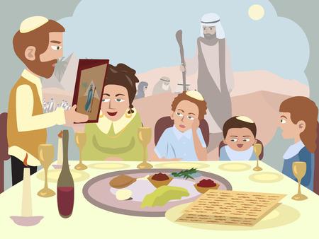 Het lezen van de Haggadah aan de Seder tafel - cartoon illustratie