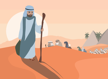 Exodus  of Jews from Egypt - cartoon  illustration
