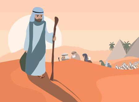Uittocht van de Joden uit Egypte - cartoon illustratie