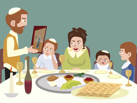 Feast of Passover - colorful cartoon  illustration Çizim