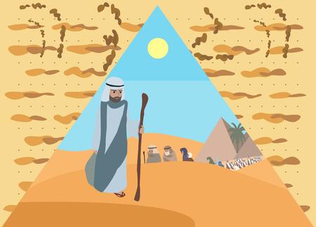 matzo: Passover Haggadah - illustration of Exodus with matzo background