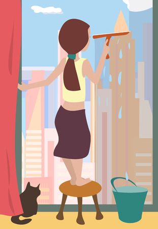 cleaning windows: woman cleaning windows  - colorful cartoon illustration