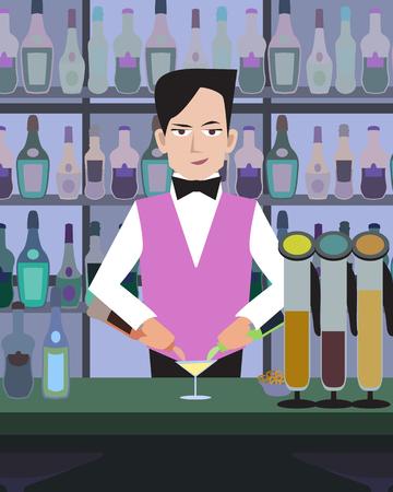 serves: barman serves drinks at bar - cartoon colorful illustration