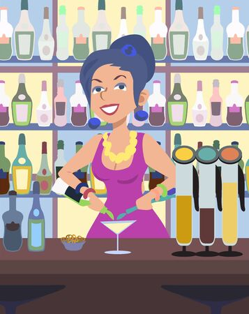 humorous: humorous cartoon image of barwoman serves drinks at a bar Illustration