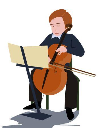 violoncello: boy playing violoncello - cartoon colorful illustration