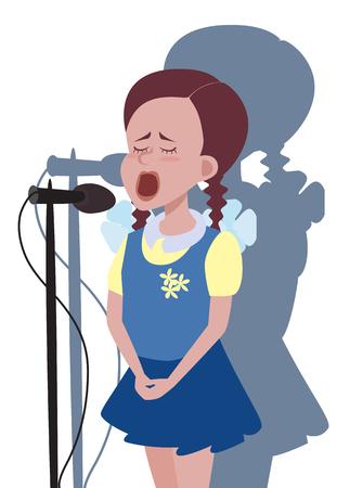 Fille de bande dessinée chantant dans le microphone - illustration drôle Vecteurs