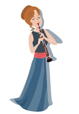vrouw spelen klarinet - kleurrijke leuke illustratie
