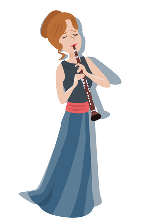 clarinet: woman playing clarinet - colorful cute illustration