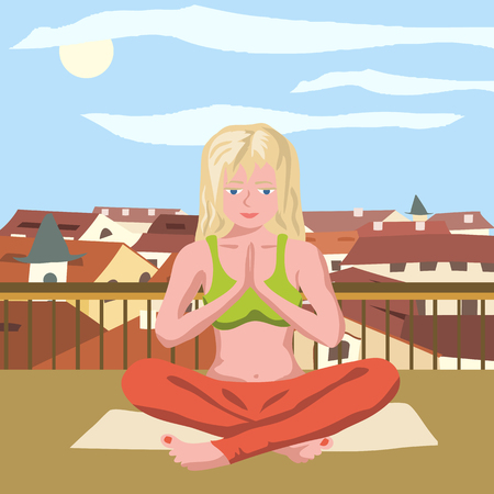 coloful: doing yoga on the roof - coloful illustration of girl meditating on the roof