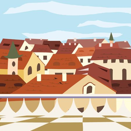 penthouse: old town view from the balcony - colorful illustration