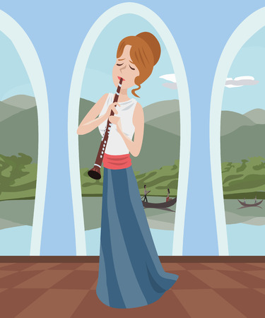 clarinet: girl playing clarinet at romantic hall - colorful cartoon illustration