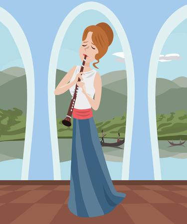 clarinet player: girl playing clarinet at romantic hall - colorful cartoon illustration
