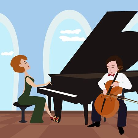 duet: funny cartoon illustration of duet with woman playing piano and boy playing violoncello