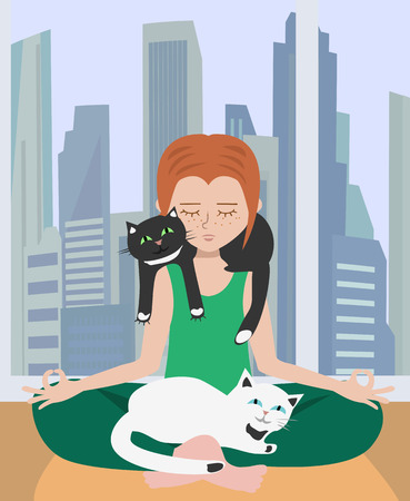 doing yoga at home with cats - image illustrating relaxation in stressful atmosphere Иллюстрация