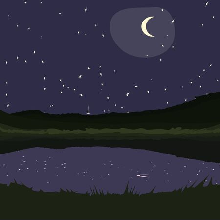 starry night: starry night at country landscape - background illustration