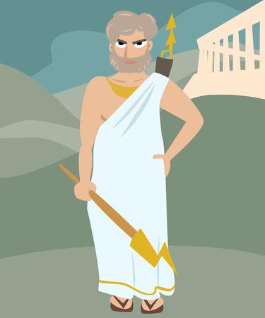 deity: zeus deity cartoon colorful illustration of antique god