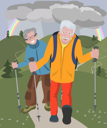 couple hiking: aged couple hiking at hills in rainy weather - funny cartoon illustration