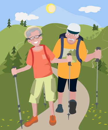 couple hiking: aged couple hiking at hills - colorful cartoon vector illustration