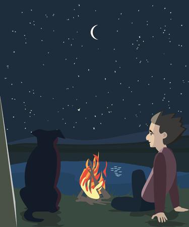 oudoors: man and dog oudoors at night - cartoon vector illustration Illustration