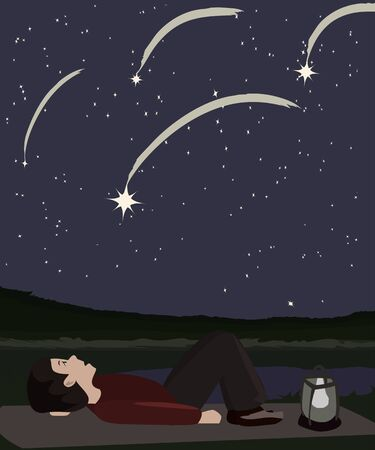 meteor: person watching meteor shower - vector cartoon illustration