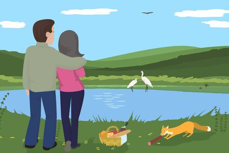 couple having picnic at wilderness - funny cartoon vector illustration Ilustracja