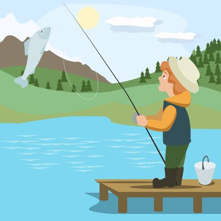 astonish: boy catching fish with rod - colorful vector cartoon illustration