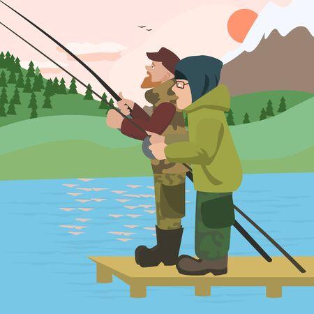lake sunset: men fishing at mountain lake - colorful vector cartoon illustration